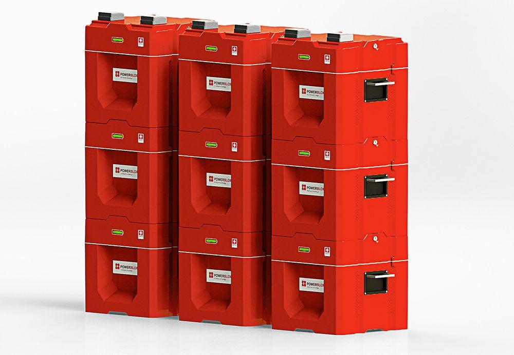 Disse batteriene kan bygges sammen som Lego-klosser for å gi større kapasitet.