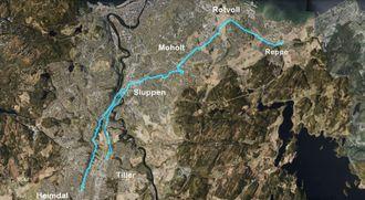 Vegvesenet ønsker å bygge en drøyt 18 kilometer lang ekspressykkelvei fra Heimdal til Reppe i Trondheim.