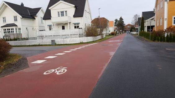 Sykkelfeltet i Brandvoldgata i Lillestrøm blir lagt merke til.