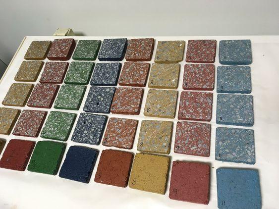 Fargekart: Støpeasfalt i en rekke farger.