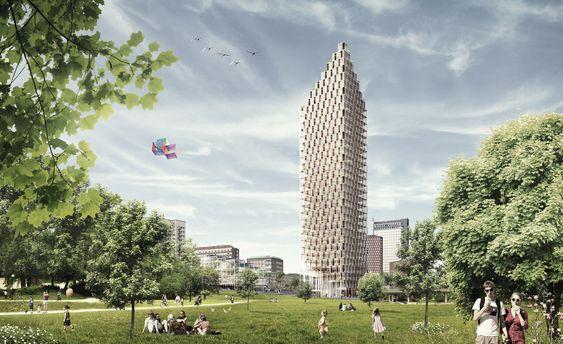 HSB Stockholm, vinnerprosjekt til et 34 etasjers høyhus av tre på et sentralt sted i Stockholm
