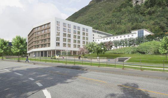 Sykehus Haraldsplass i Bergen, får ny sengebygning der de tradisjonelle sykehuskorridorer er erstattet av åpne fellesarealer og effektiv logistikk.