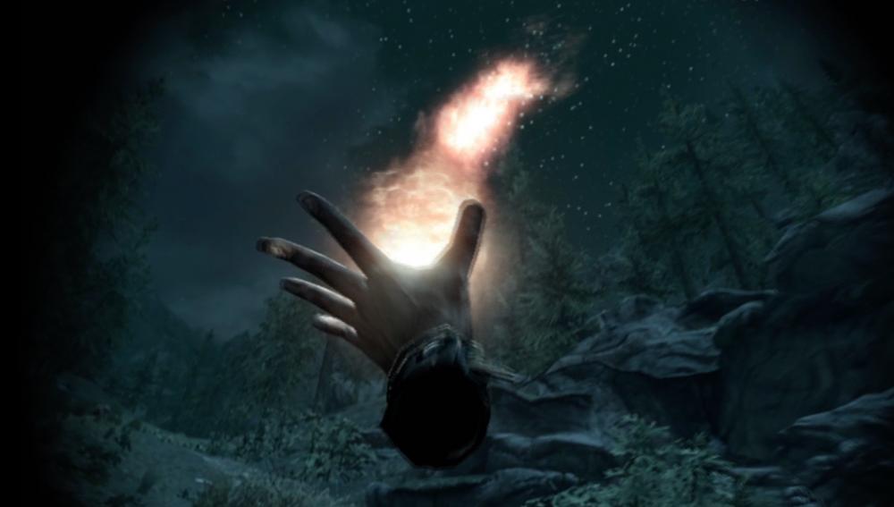 Nytt i VR er muligheten til å kaste magi i alle retninger. Det er praktisk for kontinuerlig magi (for eksempel Flames), men kan være vanskelig å sikte for prosjektilbasert magi (for eksempel Firebolt).