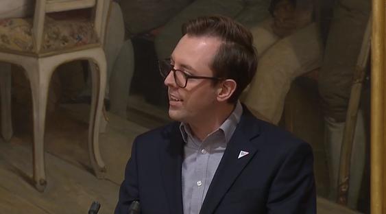 HOLDT ET FLAMMENDE INNLEGG: Nicholas Wilkinson (SV) var klar i sin tale på Stortinget om Taraldrud, men det blir ingen ekstern granskning.