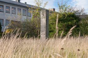 Slik har det sett ut de siste par årene, en minnesten i en gjengrodd park foran et kommunehus som snart blir revet.