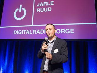 Jarle Ruud i Digitalradio Norge AS fotografert under arrangementet i forbindelse med kåringen av årets julegave 2015. Foto: Tore Skaar