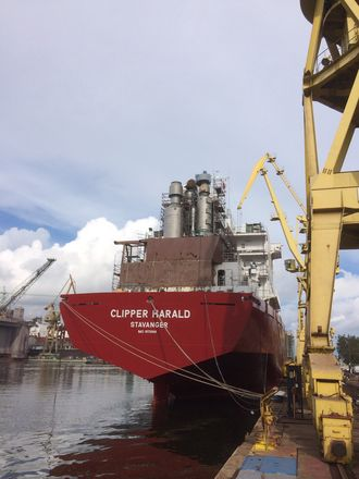 Clipper Harald fikk installert EGR-anlegget på et verft i Polen i 2014.