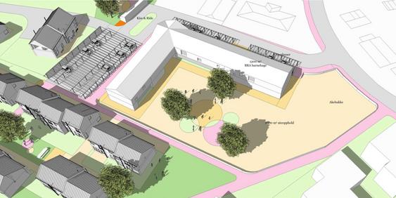 VISER POTENSIALET: Skisseforslaget til arkitektane viser korleis ein barnehage ved Trolladalen kan løysast. Endeleg utforming av barnehagen vil bli lyst ut i ein arkitektkonkurranse.