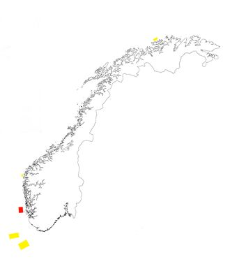 Her ligger områdene som NVE har anbefalt etter utredningen i 2013. Utsira markert i rødt.