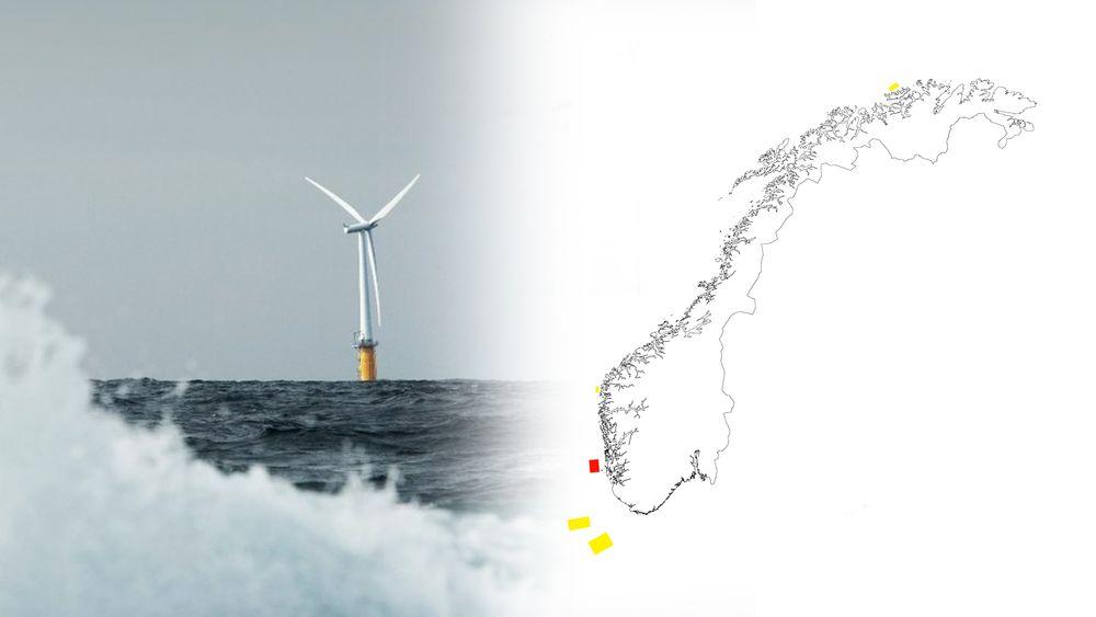 Regjeringen åpner Utsira Nord (rødt) og Sørlige Nordsjø II for vindkraft til havs. Utsira Nord er egnet for flytende havvindturbiner, mens Sørlige Nordsjø II er egnet for bunnfast. (Illustrasjon: TU Media)