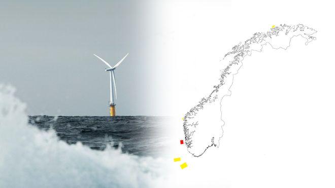 En av Statoils flytende havvindmøller ses på avstand bak en bølge sammen med et norgeskart som viser fem markerte områder markert i rødt og gult.