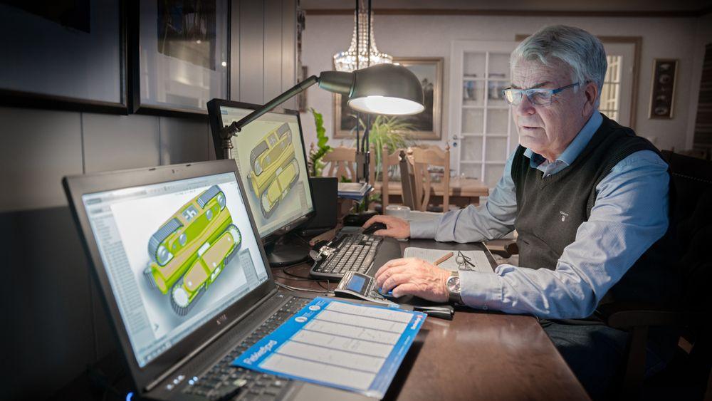 Per Olav Haughom fra Sirdal tegner helst hjemme i stua. Han er oppført som oppfinner på 39 norske patenter.