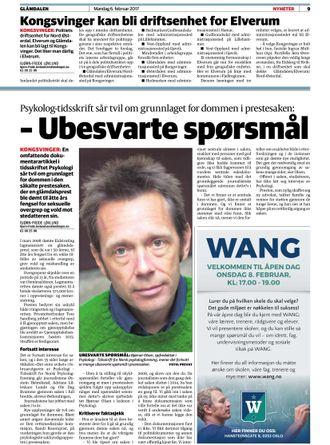 2017: Glåmdalen omtalte Psykologtidsskriftets reportasje.