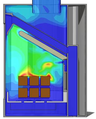 Gassforløpet i en rentbrennende ovn er komplekst. I stedet for å sende ut varm røyk med uforbrente gasser, avgis mer av varmen i rommet. Illustrasjon: Morten Seljeskog, Sintef Energi