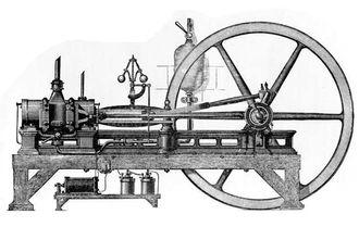 1860: Belgieren Jean Joseph Etienne Lenoir bygger en stempelmotor som drives av gass. Dette er den første forbrenningsmotoren som produseres og selges i flere eksemplarer.