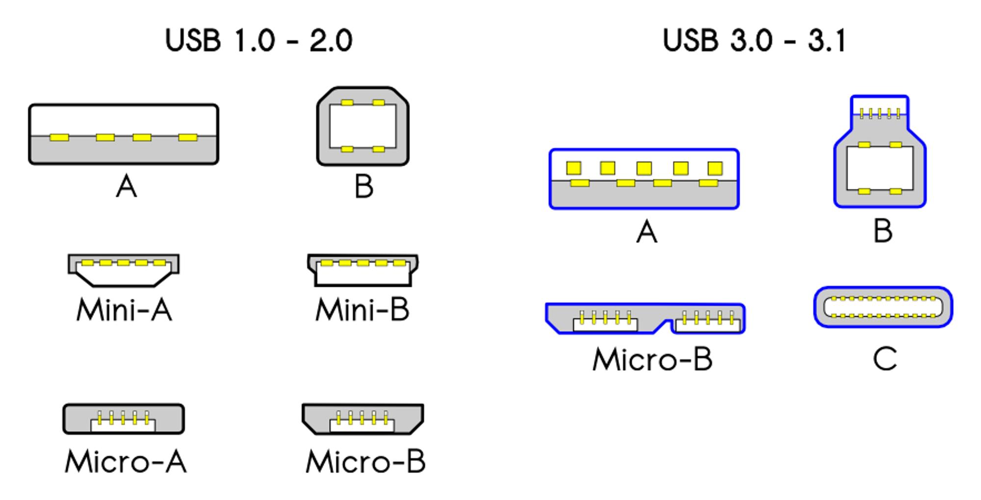 Det har kommet en rekke ulike USB-plugger siden starten i 1996. Ikke alle er like mye brukt, men bare C-varianten er vendbar.