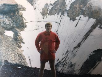 Fjellvandrer: Svein Stølen i soloppgang etter å ha gått til topps på fjellet Mount Fuji - det høyeste fjellet i Japan på 3776 meter.