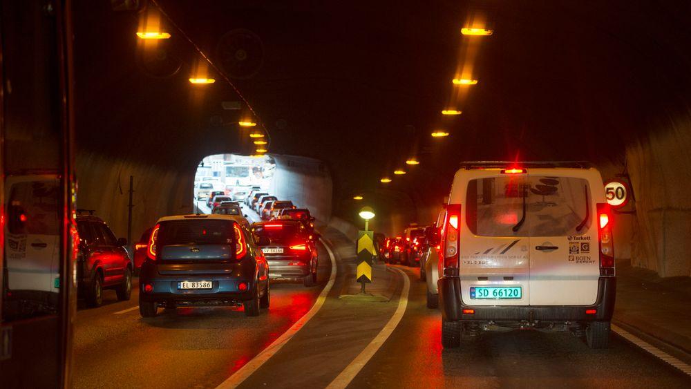 Ulykken skapte lange køer i området. Her fra Damsgårdtunnelen.
