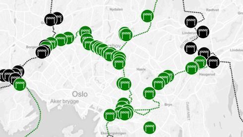 53 nye bomstasjoner i Oslo-området - se hvor de kommer