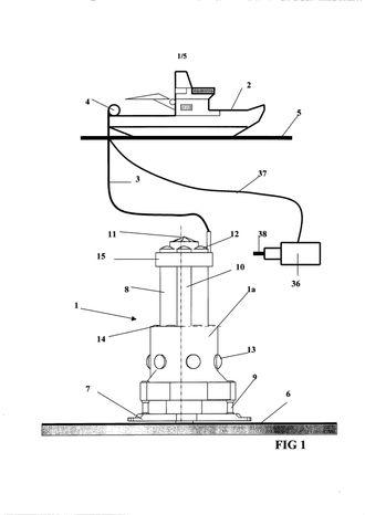 Patenttegning for borerigg plassert på havbunnen.