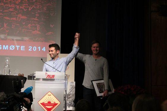 2014: Her utroper Eskil Pedersen ny leder av AUF: Mani Hussaini.