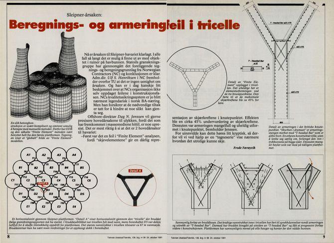 Her er Teknisk Ukeblads artikkel om årsaken til at Sleipnerunderstellet sank i 1991.