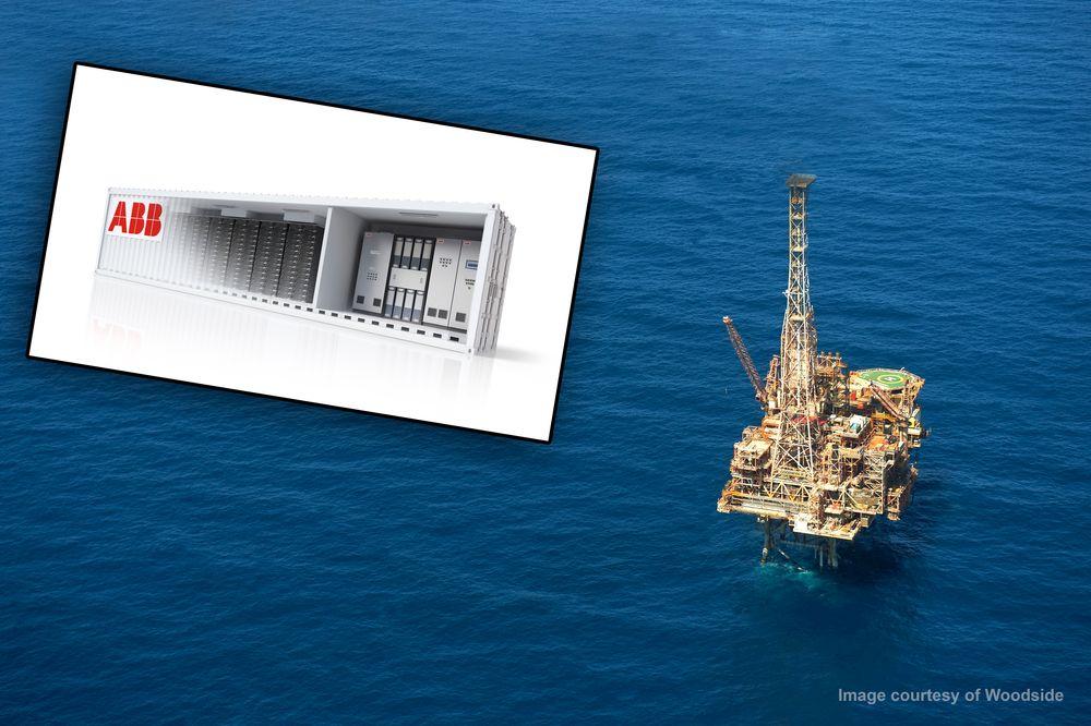 Goodwyn A-plattformen (bildet) skal ta i bruk ABBs Power Store (innfelt). Det fører til at de kan slukke en gassturbin på feltet.
