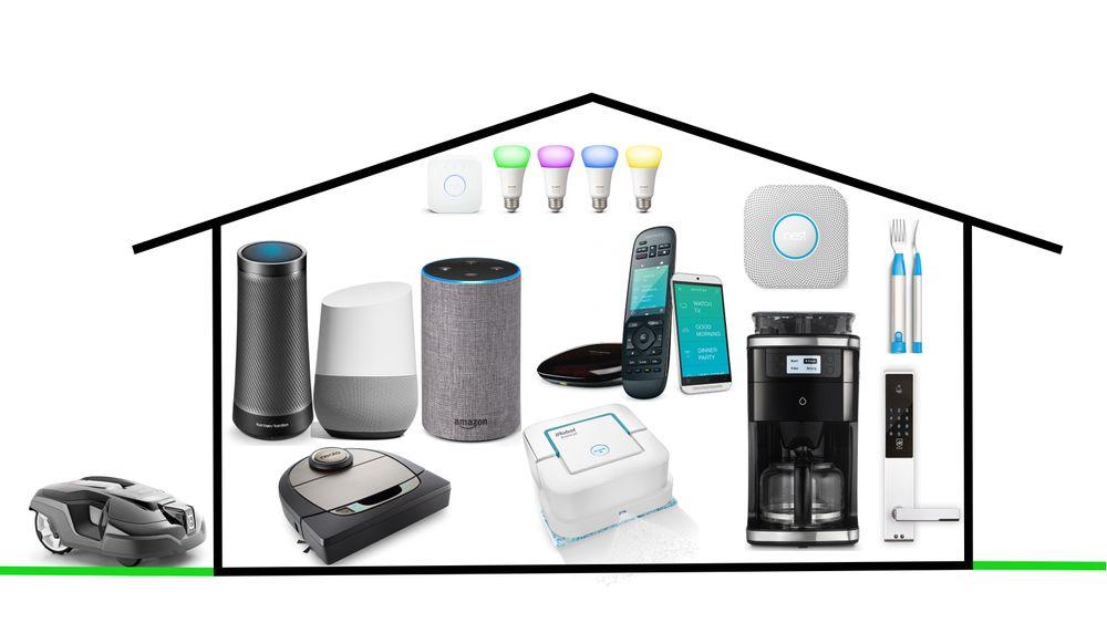 Det finnes stadig flere oppkoblede ting du kan kjøpe til huset ditt. Men det betyr ikke automatisk at tingene er smarte. Øverst fra venstre: Philips Hue, Harman Kardon Invoke, Google Home, Amazon Echo, Logitech Harmony, Nest Protect, Hapi fork, Neato Botvac Connected, iRobot Braava, Smarter Coffee, IDLock. Utenfor huset: Husqvarna Automover.