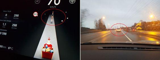 Bilene foran vises som reinsdyr i instrumentene.
