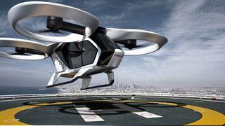 City Airbus har åtte motorer som roterer fordelt i fire bevegelige og innkapslete vifter.