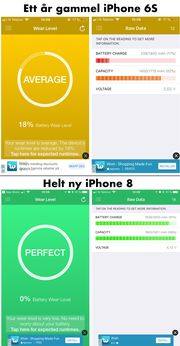 Vi sjekket to mobiler på kontoret med appen Battery Life. (trykk for større bilde)