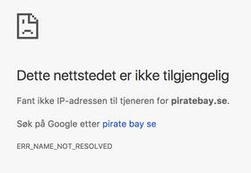 Slik ser det ut om du forsøker å gå inn på piratebay.se nå.