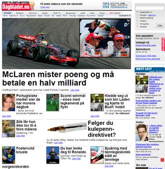 Faksmile fra Dagbladet.no i 2007.
