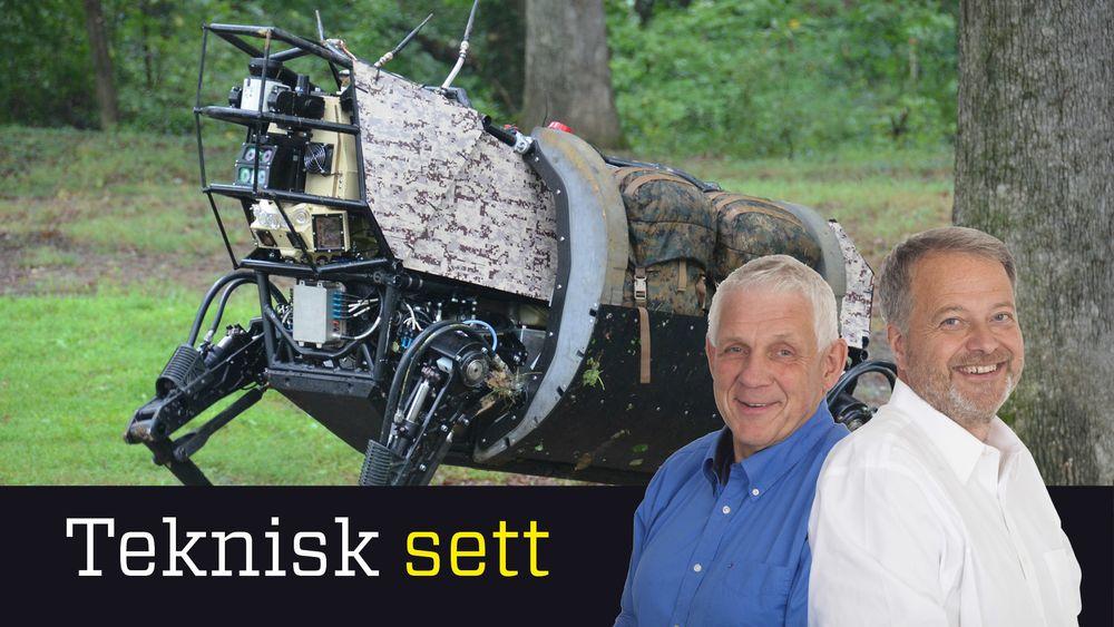 Prototypen på en kunstig intelligent hund fra Boston Dynamics (til venstre), Odd Richard Valmot og Jan M. Moberg.