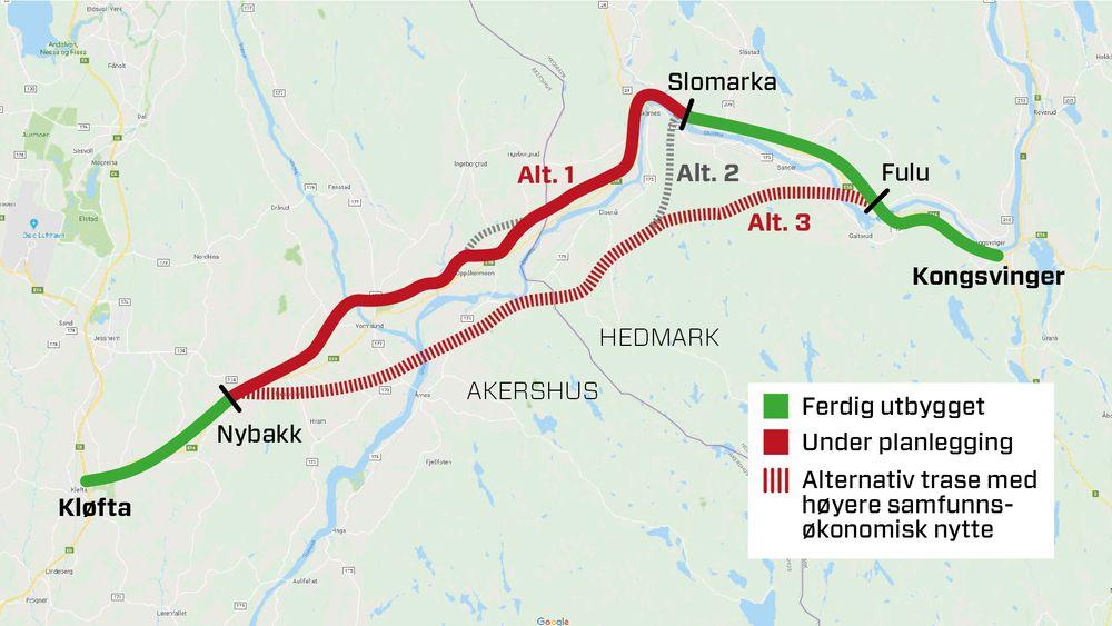 Stortinget har vedtatt av E16 fra Nybakk til Slomarka skal gå i den helstrukne linja i kartet. Dersom man hadde valgt den stiplede linja kunne kan redusert kostnadene for veistrekningen videre med oppimot 1,5 milliard kroner.