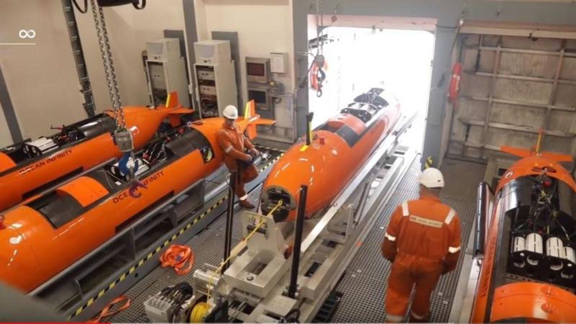 Ocean Infinity har installert Kraken-sonarteknologi inne i skroget på de åtte Hugin-undervannsdronene fra norske Kongsberg Maritime.(Foto: Skjermdump fra YouTube-video fra Ocean Infinity)