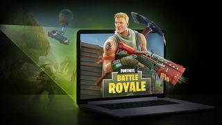 Fortnite Battle Royale på en Macbook.