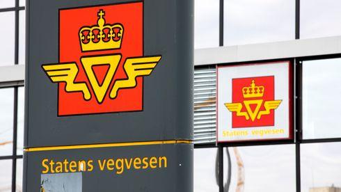Skilt meg logoen til Statens vegvesen.