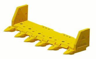 """Komatsu KVX viser 2016-modellen av Hanged lip, eller såkalt """"hengslet forstykke"""". Systemet har fått splitter nye E2-tannspisser på 137 kg stykket. De passer til 300-350 tonns gravemaskiner."""