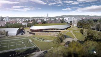 Nye Jordal Amfi skal bli Oslos hovedarena for ishockey, med et areal på ca. 11.550 kvadratmeter BRA. Illustrasjon: Hille Melbye Arkitekter/ Kultur- og idrettsbygg Oslo KF