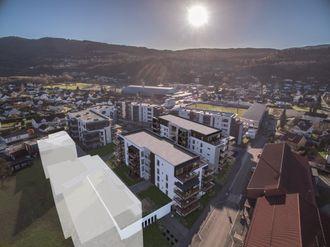 Det er 25 nye leiligheter med en prisantydning på mellom 3,2 og 7,7 millioner som nå skal bygges ut i Stadionkvartalet i Mjøndalen. Illustrasjon: Diakrit