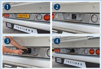 1. Innfestingen for trekkøyet sitter skjult bak registreringsskiltet. 2. Vipp ned registreringsskiltet. 3. Fest trekkøyet. 4. Klar for tauing, eller for å bli tauet.