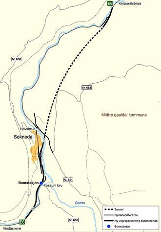 Den nye veilinjen, samt hva som skal bygges av lokalveier i Soknedal. Illustrasjon: Statens vegvesen