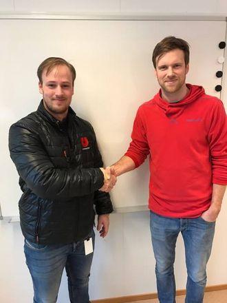 Prosjektselger Marius Johansen(t.v.) i Utleiesenteret AS og prosjektleder Kristoffer B. Aase i HAG Anlegg kommer til å samarbeide tett i tiden som kommer.
