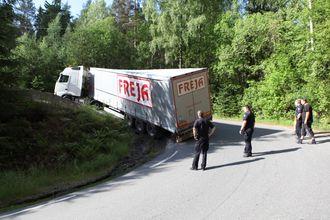 Freja på skråplanet i svingene opp fra den gamle mosseveien mot Svartskog i Akershus.