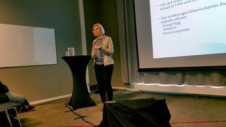 Direktør Eli Grimsby i Kultur- og idrettsbygg Oslo KF på seminaret «Klimakrav til Anleggsbransjen» under Arctic entrepreneur 2017.