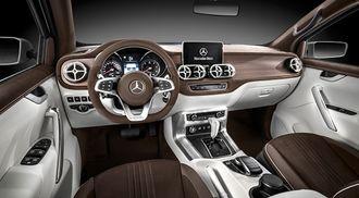 Slik ser konseptbilen av X-Class ut. Selv om interiøret og eksteriøret ikke er helt ferdig bestemt, er det liten tvil om at Mercedes-Benz-kjennere vil finne seg godt til rette.