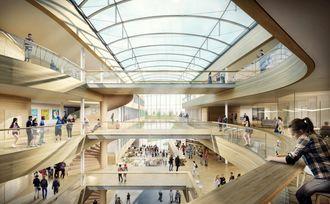 Veidekke Entreprenør har skrevet kontrakt med Vestfold fylkeskommune om bygging av ny videregående skole i Horten. Illustrasjon: Veidekke