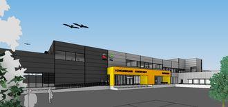 En skisse av Posten og Brings logistikksenter i Sandnes. Illustrasjon: Arkitektene Astrup og Hellern