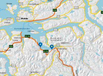 Innfjordtunnelen og Måndalstunnelen på E136 ved Åndalsnes i Møre og Romsdal skal oppgraderes. Illustrasjon: Open Street Map